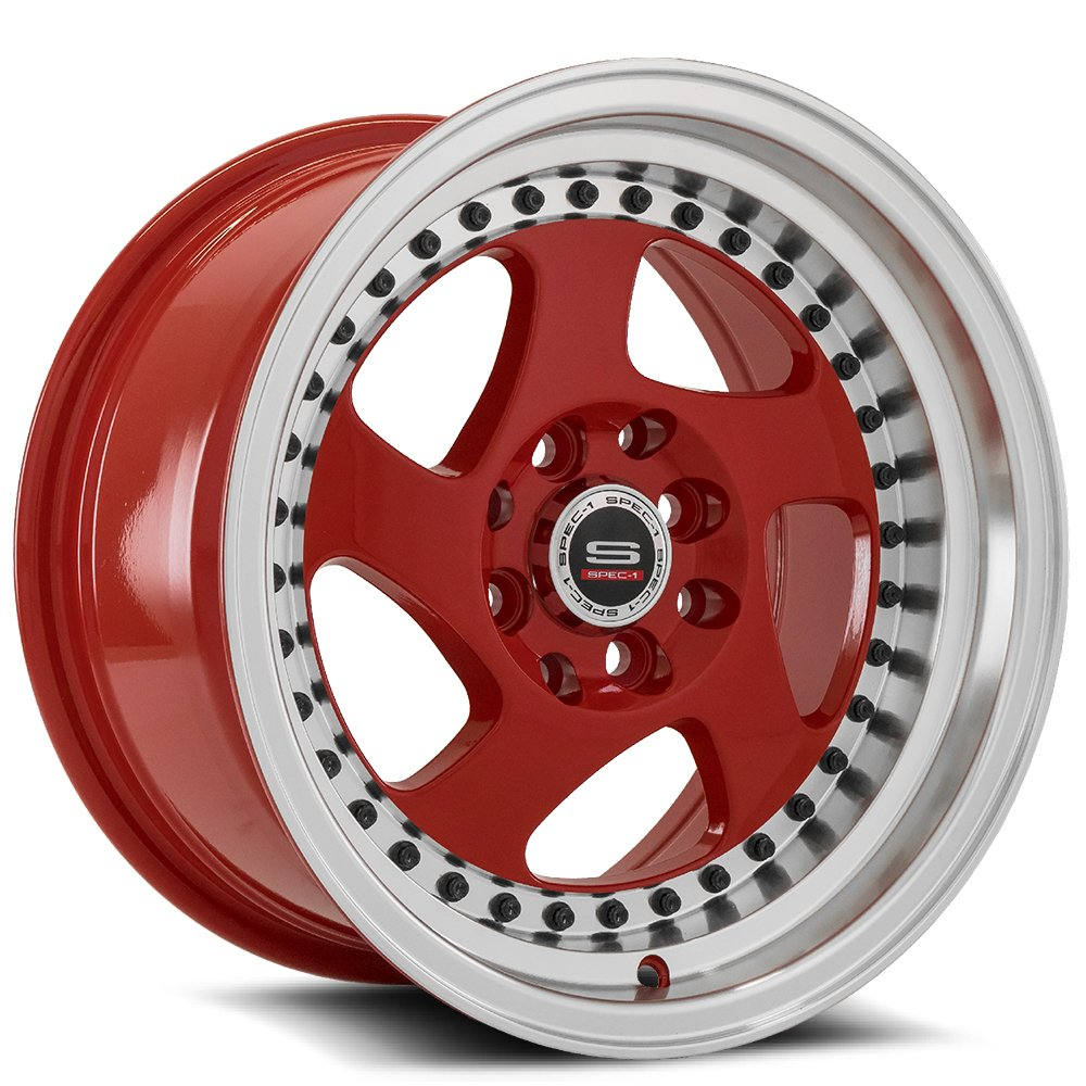 Red Machined Lip Black Rivet