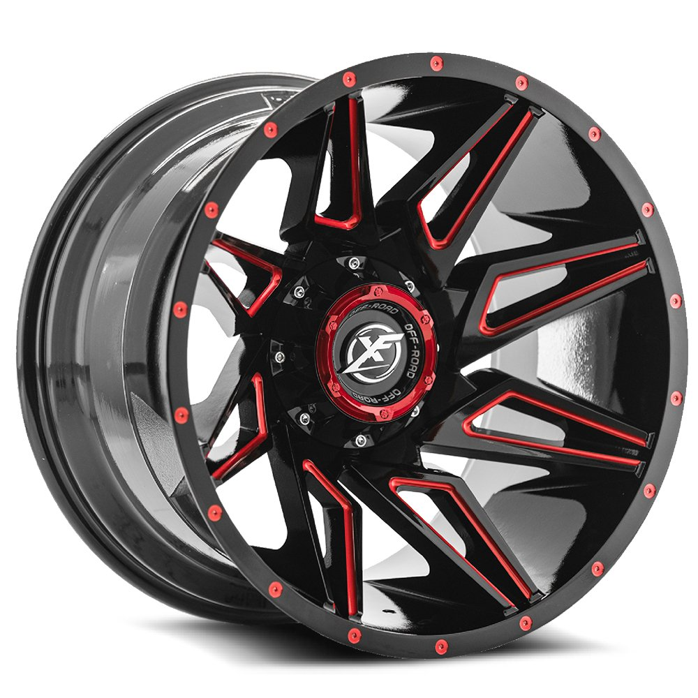 Gloss Black w/ Red Milling 20x12